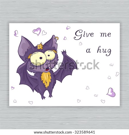 vector printable hand drawn cute cartoon bat postcard with label. Can be used as a decor for gift card, poster, invitation card Stock photo ©