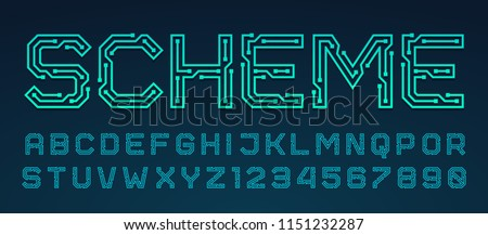 Vector printed circuit board style font. Blue latin letters from A to Z and numbers from 0 to 9 made of electric current wires and connectors. Futuristic design concept.