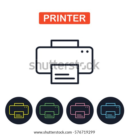 Vector printer icon. Gaget imaige.  Simple thin line icon for websites, web design, mobile app, infographics.