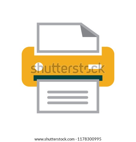 vector printer illustration isolated - print icon, document print sign symbol