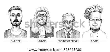 vector professions portraits...