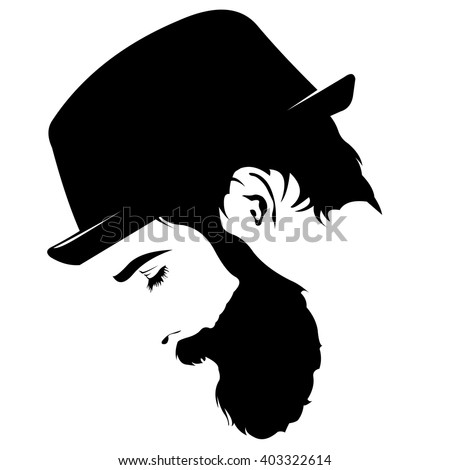 Vector Profile View Of Sad Bearded Man Wearing Hat Looking ...