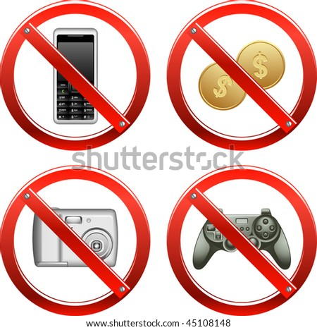 Vector Prohibition Signs - Set Three (set of signs banning video games, cash payments, and use of cameras and cell phones)