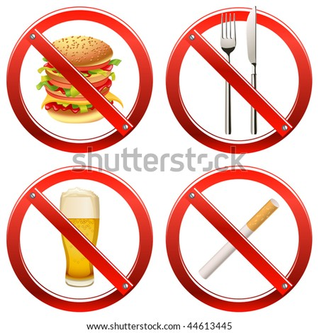 Vector Prohibition Signs - Set Two (set of signs banning smoking and food or drink in a certain area)