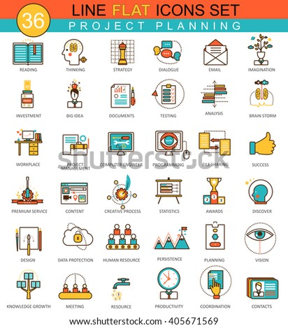 Vector Project finance business planning flat line icons set. Modern elegant style design  for web.