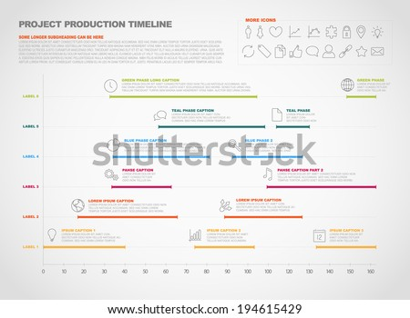 Vector project timeline graph gantt progress chart of project