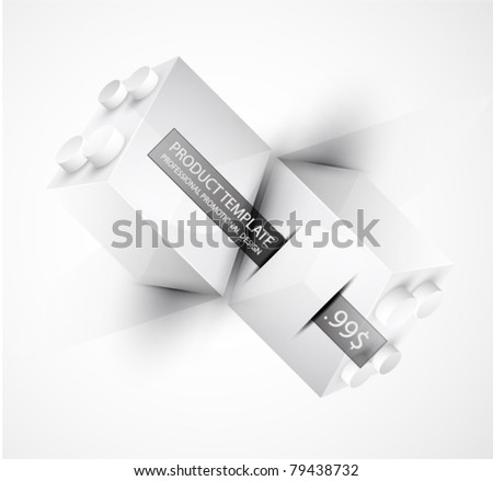 Vector promotional background. Toy block. Clean style
