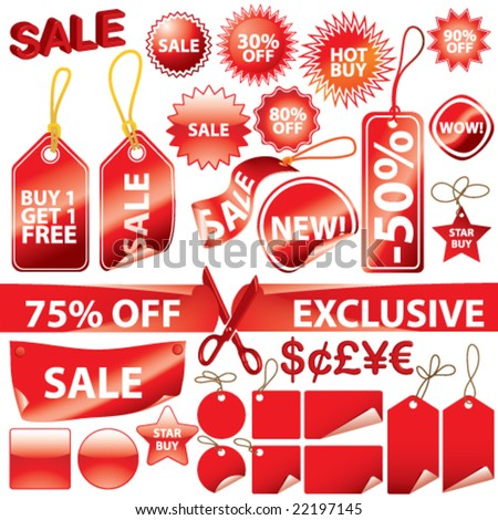 Vector Promotional Elements Set (each on individual layers)