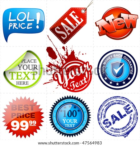 Vector Promotional Elements Set. Vector Illustration