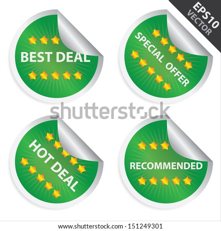 Vector : Promotional Sale Labels Set, Present By Green Glossy Style Label With Best Deal, Special Offer, Hot Deal and Recommended Text Isolated on White Background