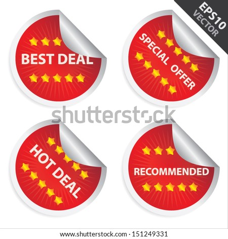 Vector : Promotional Sale Labels Set, Present By Red Glossy Style Label With Best Deal, Special Offer, Hot Deal and Recommended Text Isolated on White Background