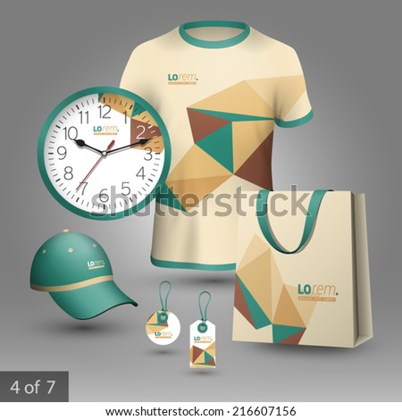 Vector promotional souvenirs design for company with origami elements Elements of stationery