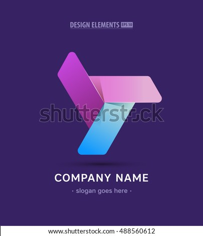 Vector propeller logo sign. App twisted icon in material design style
