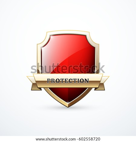 Vector protection shield icon. Red and gold shield with ribbon.