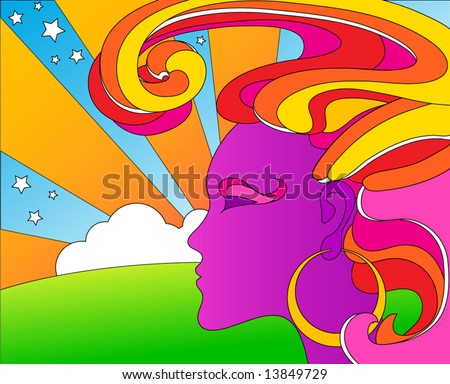 vector psychedelic pop art woman