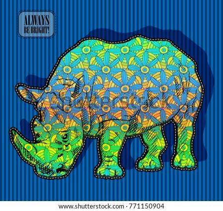 vector psychedelic rhinoceros