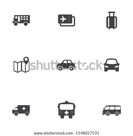 Vector Public Transport Icons. Taxi, Train, Tram, truck, vehicle and more transportation Icons
