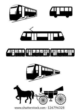 Vector public transport vehicles: tram, bus, train, carriage or coach