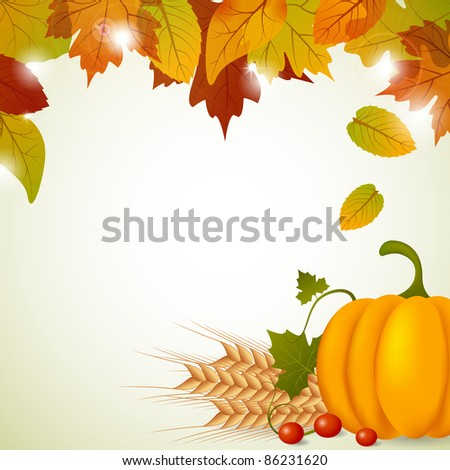 Vector pumpkin and leaves