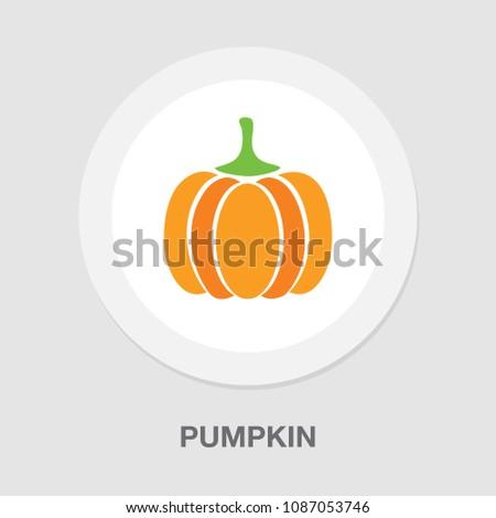 vector pumpkin illustration, vegetarian nutrition symbol - fresh, healthy and organic