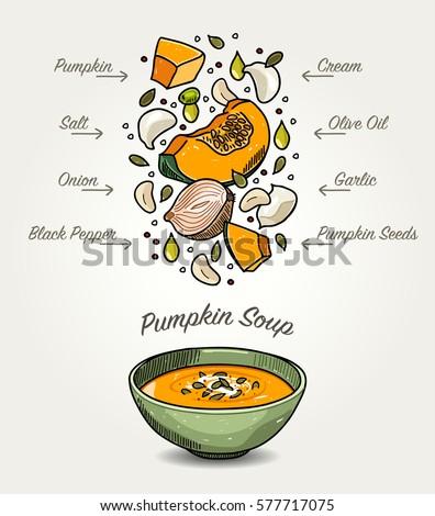 Vector Pumpkin Soup Ingredients