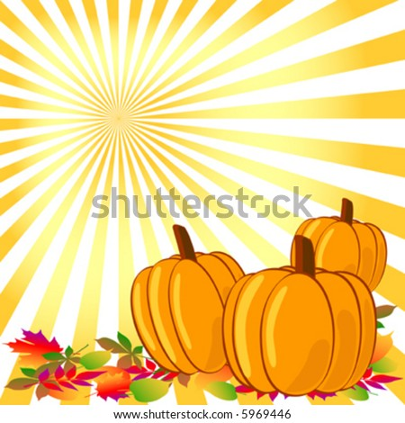 Vector pumpkins and leaves in the sun.