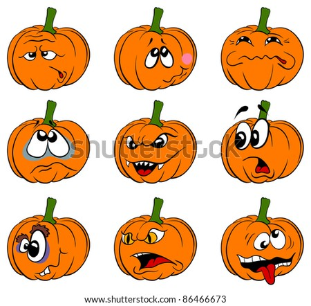 Vector pumpkins collection is isolated on a white background