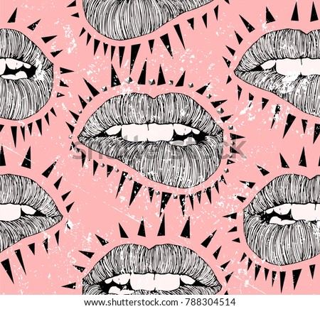 Vector Punk Lips. Hand drawn bitten lips in the style of the of Punk flyers and posters with spikes and studs.