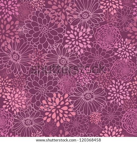 Vector purple field flowers elegant seamless pattern background with hand drawn line art floral elements.