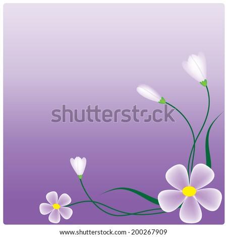Vector purple flowers on the  purple background