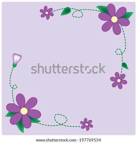 Vector purple flowers on the  purple background vintage