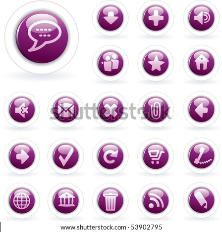 vector purple icons for web and computing