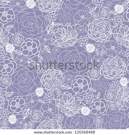 Vector purple lace flowers elegant seamless pattern background with hand drawn line art floral elements.