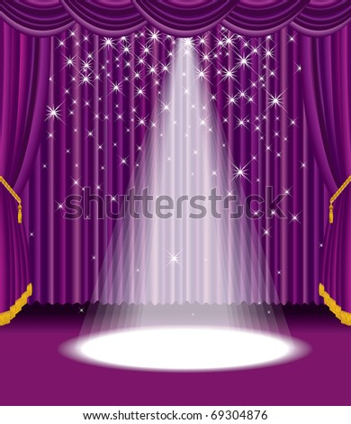 vector purple stage with falling stars, eps 10 file