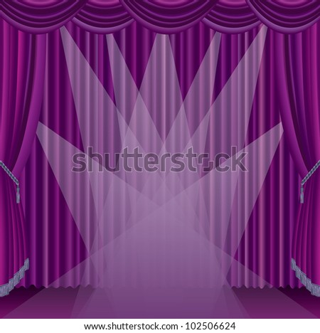 vector purple stage with seven spotlights