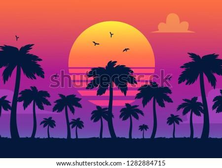 vector purple sunset on