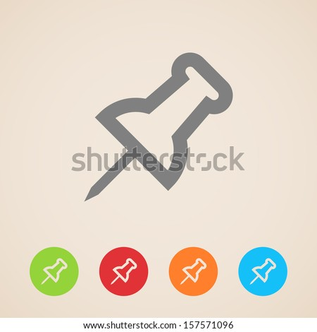 vector push pin icons