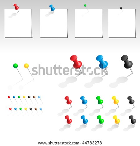 Vector push pin multicolored big collection