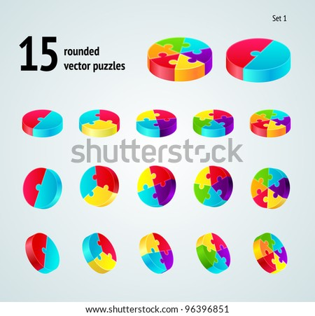 Vector puzzle diagram  3D set (pie chart) on white background,  part 3