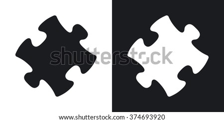 Vector puzzle icon. Two-tone version on black and white background