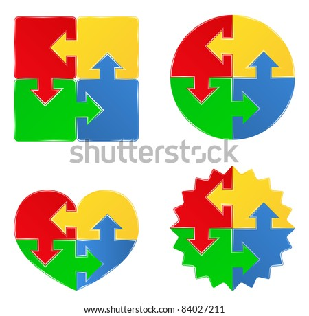 Vector puzzle shapes with arrows - stock vector
