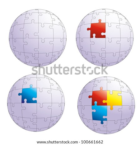 Vector puzzle sphere.