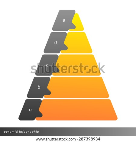 Vector pyramid info graphic shows growth with gradient fill. Clear and simple template.