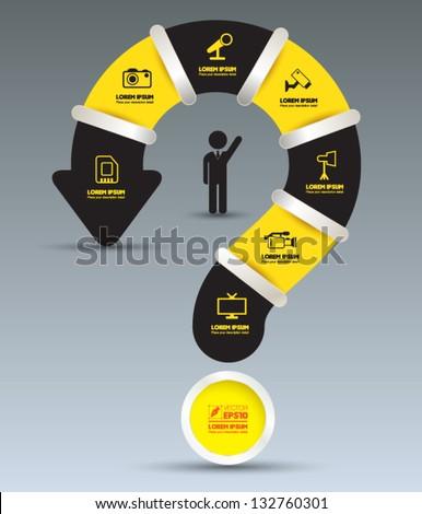 Vector question mark BLACK YELLOW with  icons / can use for info-graphic / loop business report or plan / modern template / education template / business brochure /  system diagram