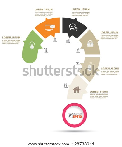 Vector Question mark business concepts with  icons / can use for info graphic / loop business report or plan / modern template / education template / business brochure /  system diagram