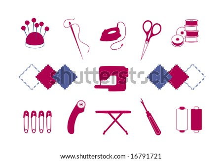 vector - Quilt, Patchwork Tools for DIY crafts, hobbies: pin cushion, needle, iron, scissors, bobbins, fabrics, sewing machine, safety pins, rotary blade cutter, ironing board, seam ripper, thread.