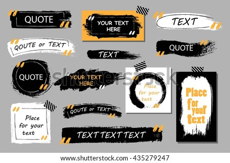 Vector quote boxes collection. Hand drawn frames, square, rectangle and round . Grunge brush strokes texture.