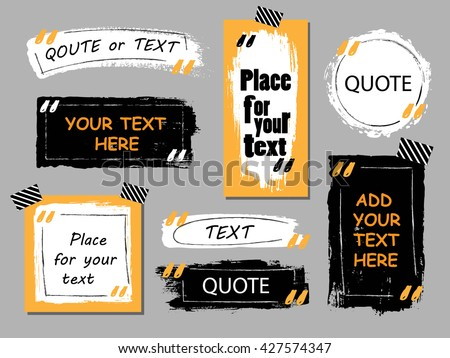 Vector quote  collection. Hand drawn frames, square, rectangle and round speech boxes. Grunge brush  texture.