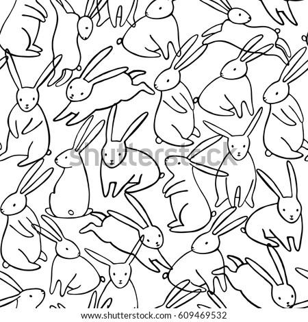Vector rabbit seamless pattern. Bunny background