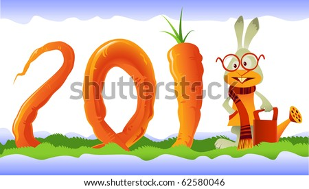 Vector rabbit, the symbol of  2011, growing a giant curly carrot in the shape of 2011 lettering